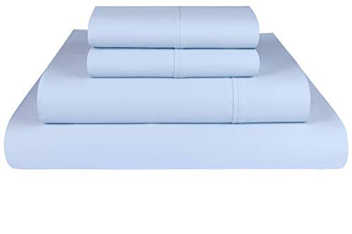 Threadmill Home Linen 600 Thread Count 100% Cotton Sheets, Blue Queen Sheets 4 Piece Cotton Bed Sheet Set, ELS Cotton Bed Sheets Solid Sateen Sheets Fits Mattress Up to 18'' Deep Pocket