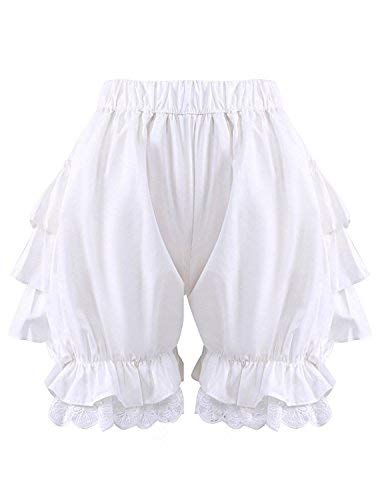 Antaina White Lace Cotton Victorian Ruffles Lolita Pumpkin Bloomers Shorts Pants,XL