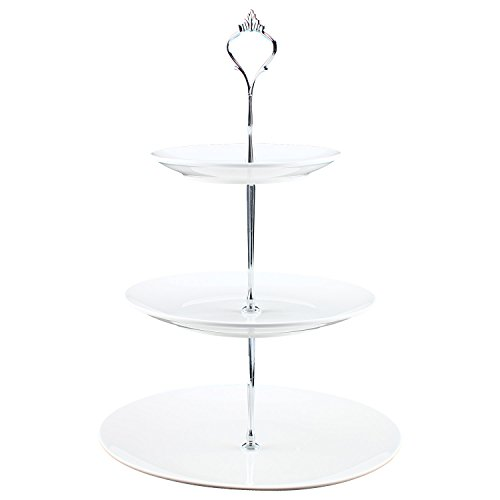 (Homend 3 Tier Round Serving Tray Platters, Appetizer or Dessert Cupcakes And Cake Stand Great for Weddings, Tea Party, Holiday Dinners, or Birthday Parties (Round Edge, Silver Handle))