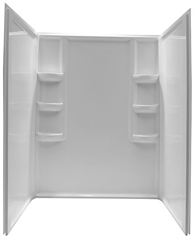 ANZZI Lex 60 x 36 x 74 inch 3 Piece Panels Direct to Stud Alcove Acrylic Shower Surrounds Wall System in Glossy White | Scratch Resilient Surface with Six Built in Shelves | SW-AZ009WH