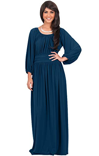 KOH KOH Plus Size Womens Long Sleeve Sleeves Vintage Peasant Empire Waist Fall Loose Flowy Fall Winter Casual Maternity Abaya Gown Gowns Maxi Dress Dresses, Blue Teal 3XL 22-24 ()