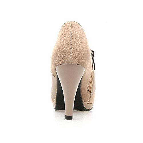 VogueZone009 Womens Closed Round Toe High Heel Frosted PU Solid Pumps with Zippers and Metalornament Beige dXZFr