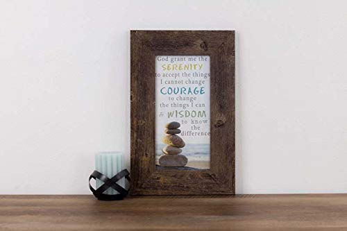 Summer Snow Serenity Prayer Rocks Seashore Beach Inspirational Restoration Framed Art Picture ()