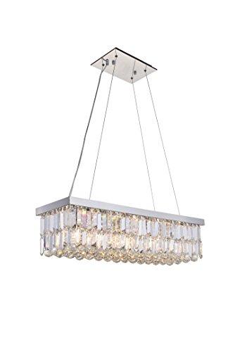 (ANJIADENGSHI Modern Traditional Vintage Crystal Chandelier Stainless Steel 5 E12 Bulbs with Adjustable Hanging Height for Dining Living Room Foyer Office Chandelier, Chrome)