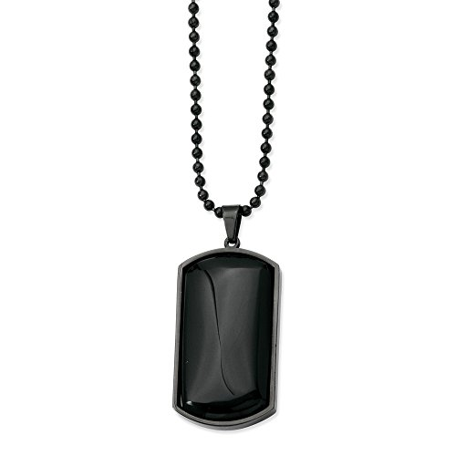 (ICE CARATS Stainless Steel Black Plated Agate Dog Tag Chain Necklace Man Pendant Charm Dogtag Fashion Jewelry Gift for Dad Mens for Him)