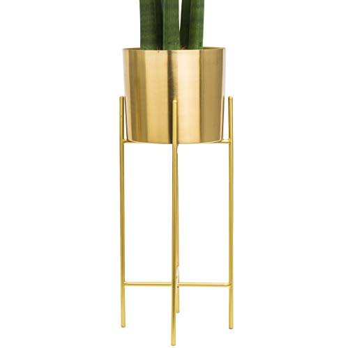 Modern Mid Century Brass Gold Planter with Gold Stand | 7 Inch Large Planter Pot with Metal Stand | Flower Pot Living Room Decor | For Orchid, Aloe, Large Cactus Plants | 20 inch Tall | Indoor