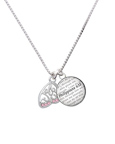 Open Pink Crystal Butterfly Wing - Bible Verse Philippians 4:13 Glass Dome Necklace