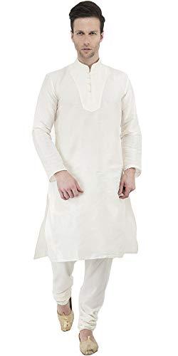 - SKAVIJ Men's Tunic Kurta Pyjama Set Party Wear Ethnic Wear Dress (X-Large, Off-White)