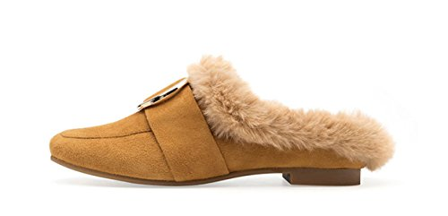 laine Plat MSM4 Chaussures Femme Métal Chaussures Boucle Camel Muller Vert Automne Yellow Anti Hiver qq6p7zwU