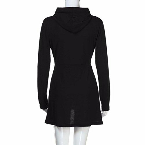 abrigo capucha las capucha Negro dobladillo Jersey Tops larga manga asimétrica del del Internert de Sudadera con Desgastar la con mujeres irregular de Tqx1OqXE