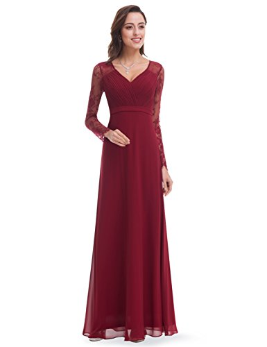 Formal Prom Evening Dress (Ever-Pretty Womens Long Sleeve V-Neck Chiffon Evening Dress 16 US Bugundy)