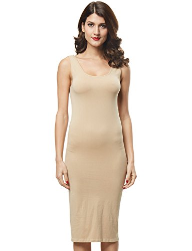 Franato Women's Seamless Stretchy Basic Tank Bodycon Maxi Long Dress Nude S