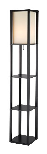 Adesso Shelf - Adesso Titan Floor Lamp – 6 Feet Tall, 2 Shelve Storage, MDF Made, Black Finish, Poly Cotton Shade, Scratch Proof Lighting Fixture. Lamps and Shades