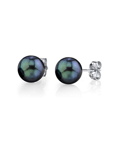 THE PEARL SOURCE 14K Gold 7.5-8mm Round Black Cultured Akoya Stud Pearl Earrings for Women ()