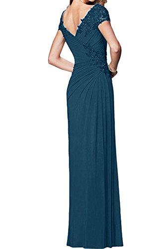 Ausschnitt Abendkleider Damen Fuchsie Chiffon Brautmutterkleid Arm V Ivydressing Promkleider Festlich HxtqI6