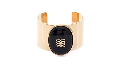 (Shelly Brown Adjustable Cuff Bracelet with Cabochon Setting: Margaret Cuff Bracelet in 14K Gold Plate & Black Onyx)