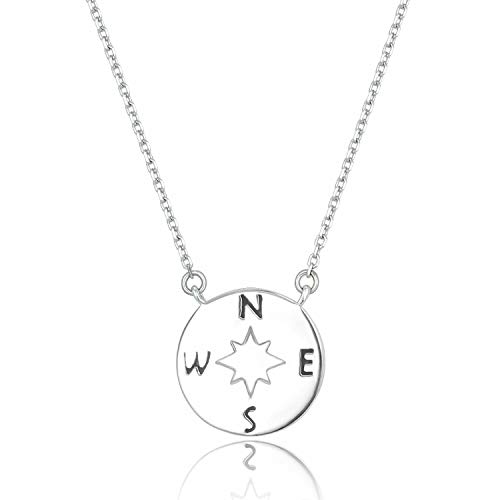 Sterling Silver Large Compass - Lancharmed S925 Sterling Silver Tiny Compass Necklace Cute Pendant Friendship Necklace Fine Jewelry for Women Girls