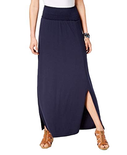 (Style & Co. Smocked-Comfort-Waist Maxi Skirt (Industrial Blue, L))