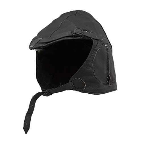 - WWII Replica Vintage Black Leather Aviator Pilot Helmet Cap M/L