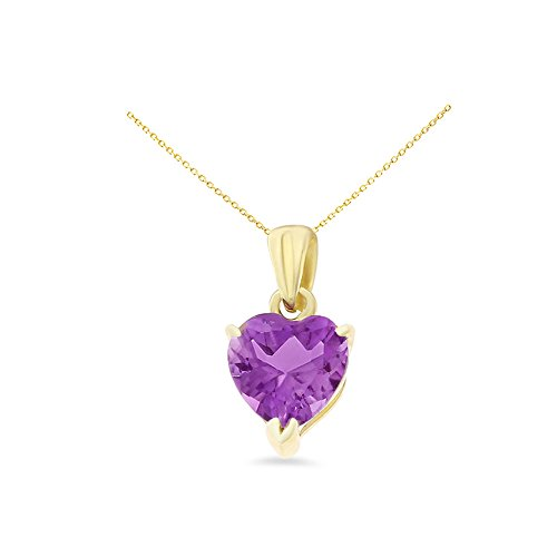 - 14K Yellow Gold 6 mm. Heart Shaped Genuine Natural Amethyst Pendant With Square Rolo Chain Necklace