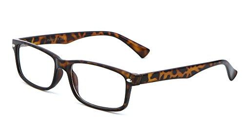 MJ Eyewear Casual Fashion Horned Rim Rectangular Frame Clear Lens Eye Glasses (Black) (TORTOISE, CLEAR)