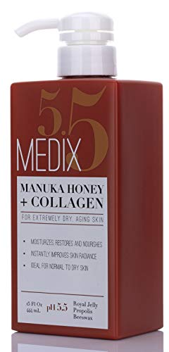 31svK6PRaTL - Medix 5.5 Manuka Honey Cream with Collagen and Green Tea Extracts. Anti-aging Cream for face and body, moisturizes, restores and nourishes skin. Large 15oz (444 mL) bottle with pump