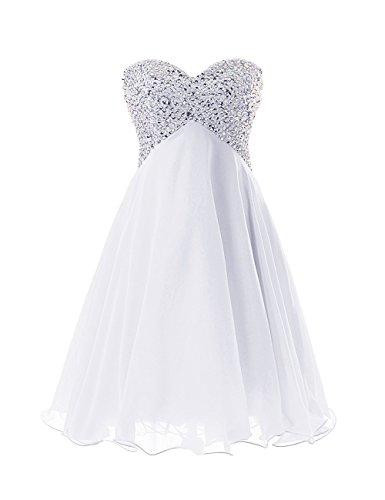 Bianco Chiffon Corto ballo da Donne Abiti JAEDEN Paillettes d'onore spalline festa damigella Senza Abiti da Vestito ZgxwqfFa