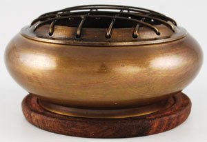 New Age Brass Screen Incense Burner 1 by 3 with Coaster ()