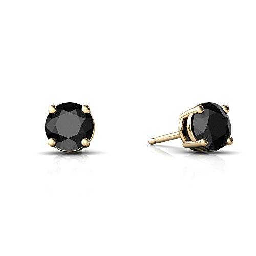 14kt Yellow Gold Black Onyx 5mm Round Round Stud Earrings
