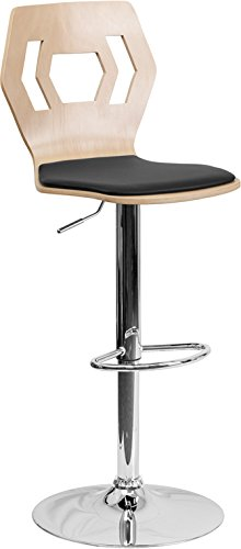Flash Furniture Beech Bentwood Adjustable Height Barstool with Black Vinyl Seat and Cutout Back