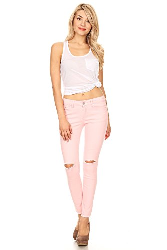 K's more Pink Jeans Woman Mid Rise Skinny Fit Ankle High Soft Comfortable Stretch Denim (9) (Denim Stretch Pink)