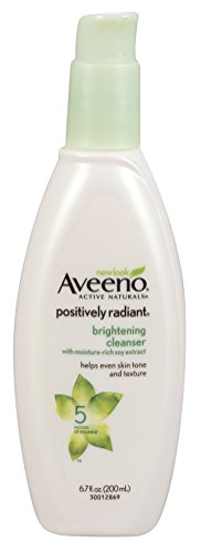 Aveeno Positively Radiant Brightening Facial Cleanser for Sensitive Skin, Non-Comedogenic, Oil-Free, Soap-Free & Hypoallergenic, 6.7 fl. oz (Pack of 2) (Best Face Wash For Radiant Skin)