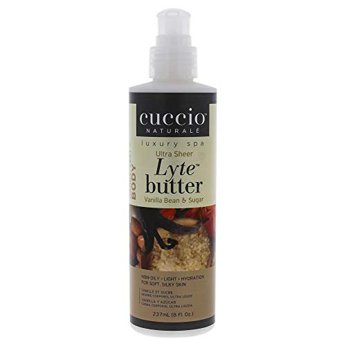 Cuccio Lyte Ultra Sheer Body Butter, Vanilla Bean & Sugar, 8 Fluid Ounce