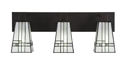 Toltec Lighting Apollo 3 Light Bath Bar Square New Deco Tiffany -