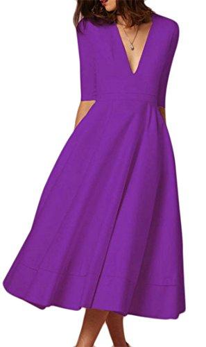 Cromoncent Femmes Élégante Profonde Col V 3/4 Swing Manches Robe Plissée Midi Violet