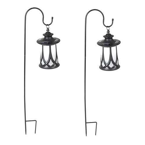 Winsome House Traditional Solar Lanterns with Shepherd's Hooks, Set of 2 by Winsome House