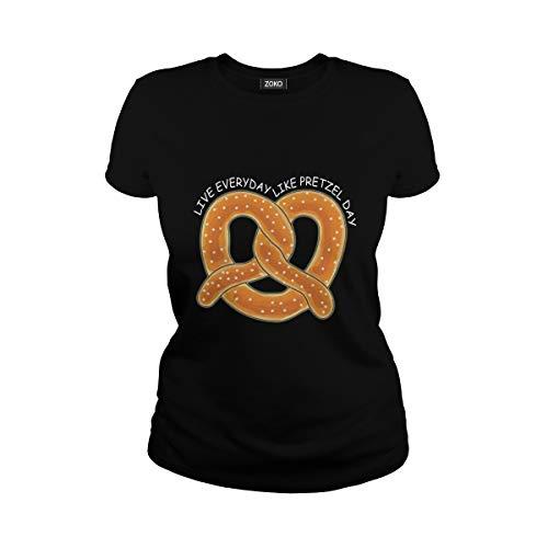 Zoko Apparel Women's Live Everyday Like Pretzel Day T-Shirt (L, -