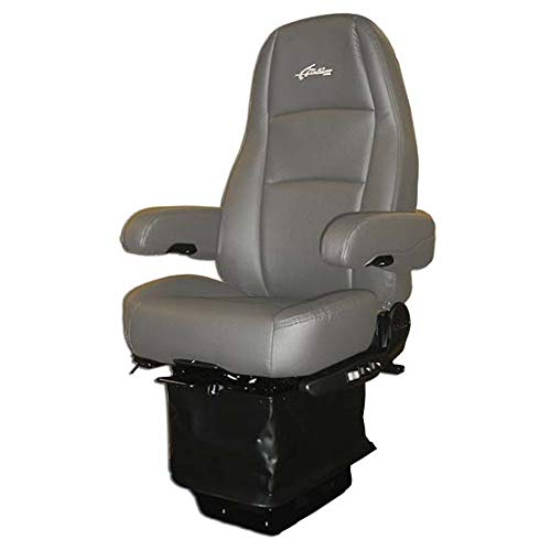 Sears Seating Atlas II DLX Standard Base High Back Seat With Dual Armrests - Gray Ultra-Leather