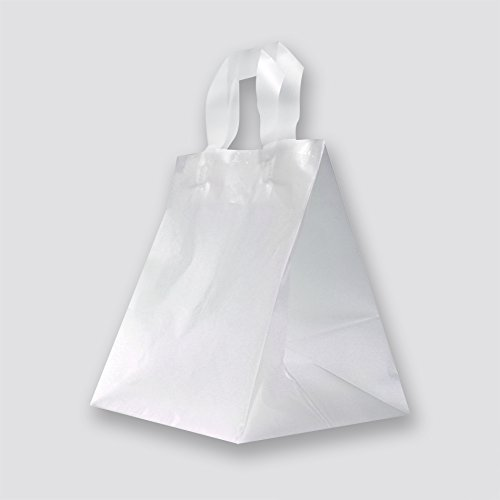 Frosted Clear Plastic Restaurant Take-Out Bags with Flexi Loop Handle and Reinforced Cardboard Bottom (Case of 250) by Zee Green Bags