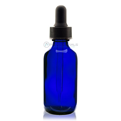Premium Vials B37-pk12 Boston Round Glass Bottle with Dropper, 2 oz Capacity, Blue (Pack of 12)