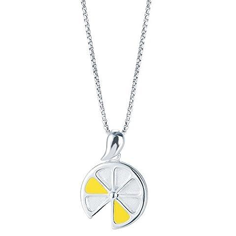 SILVERAGE Sterling Silver Lemon Slices Pendant Necklace