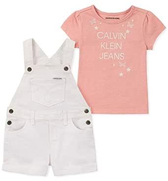 Calvin Klein Girls' Little 2 Pieces Shortall Set, Pink/White, 4