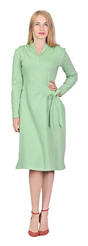Marycrafts Womens Elegant 1960s Retro Fit Flare Midi Dress Long Sleeve 10 Green Pastel - 60s Pastel