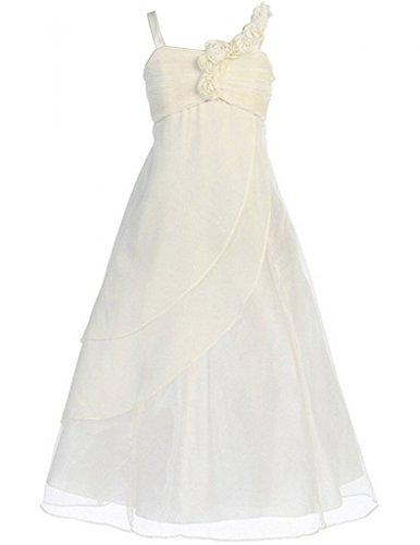 Fashion Plaza Girls A-line Chiffon Organza Flower Girl Dress for Wedding K0034 6 Ivory