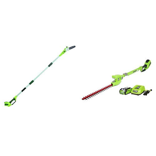 Greenworks 8' 40V Cordless Pole Saw, Battery Not Included 20302 with  2272 7.25' 40V Cordless, 2.0 AH Battery Included 22272 Pole Hedge Trimmer, Electric Lime