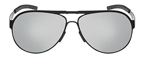 Eyekepper Lunettes de Soleil au Volant / a la Conduite Style Aviateur / Pilote - Polarisation et UV 400 Protection pour Homme noir-argente