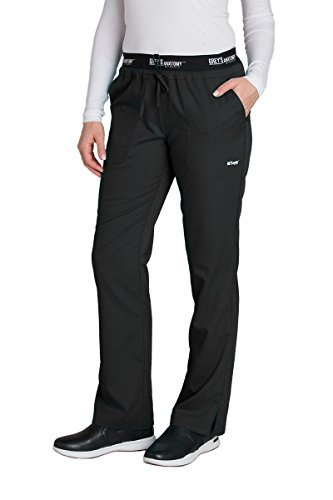 Grey's Anatomy Active 4275 Drawstring Scrub Pant Black XS Petite by Barco