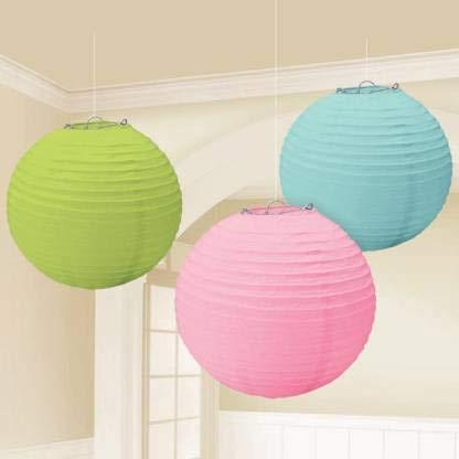 Jamboree!!! Tree Shops Green, Pink, Blue Paper Hanging Lantern  30 X 30 cm   Pack of 3