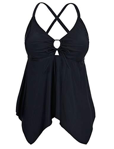 Firpearl Women's Black Flowy Swimsuit Crossback Plus Size Tankini Top US14 Black