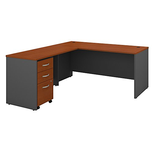 Bush Business Furniture Series C 66W L Shaped Desk with 48W Return and Mobile File Cabinet in Auburn Maple ()